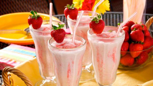 Foto de batido de helado de fresa