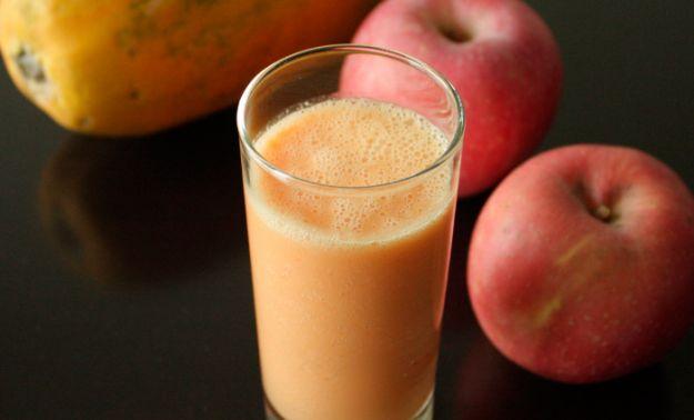 Foto de batido de papaya y manzana